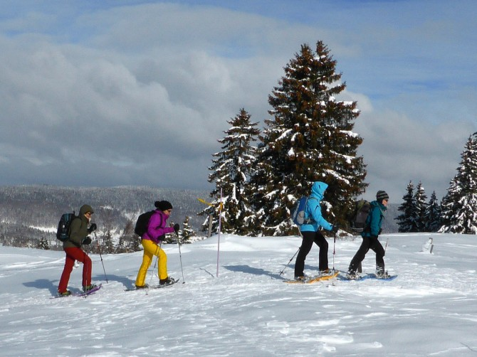 Introduction to snow-shoeing, La Givrine or St Cergue*