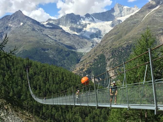 Above Randa: the world's longest pedestrian suspension bridge!***